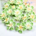 Small fimo flowers, Fimo, Light green, Yellow, 20mm x 20mm x 10mm, 1  piece, (DDH012)